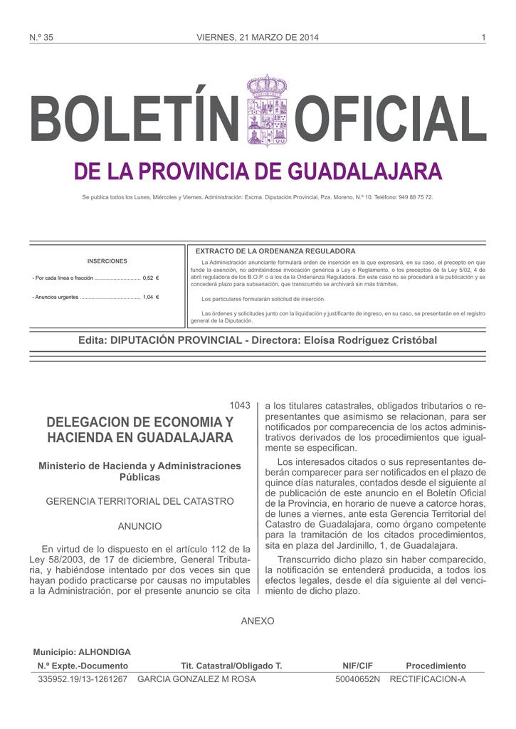 num 35 viernes 21 marzo 2014 Boletn Oficial de Guadalajara