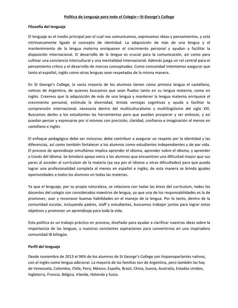 Política de Lenguaje para todo el Colegio—St George`s College