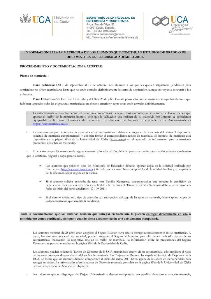 Uca Calendario Academico.Informacion Matricula Alumnos Continuan Estudios