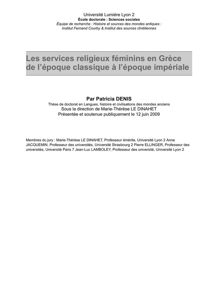 les services religieux féminins en grèce de l`époque classique à l