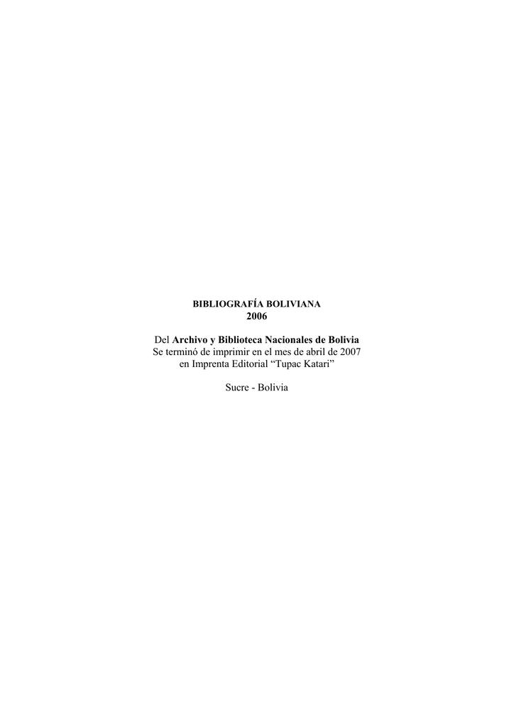 2006 - Asociacion de Estudios Bolivianos / Bolivian Studies