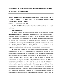 SUSPENSION DE LA RESOLUCIÒN nª 642/14 QUE PERMIE