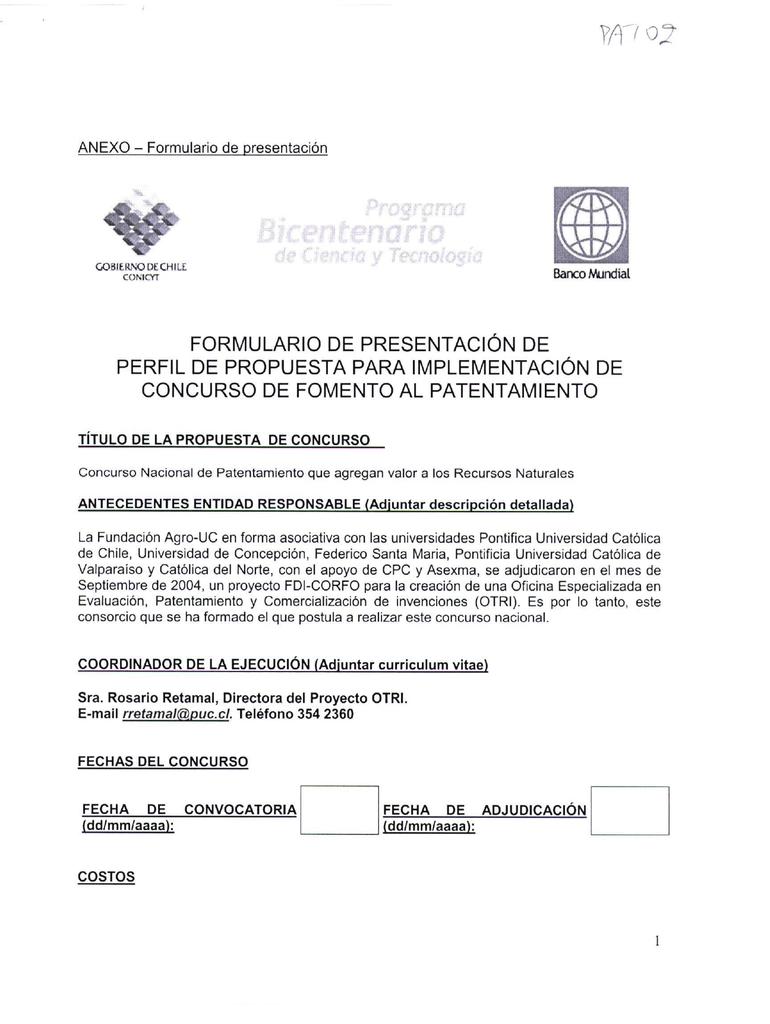 Formulario De Presentac Ion De Perfil Dl Propuesta