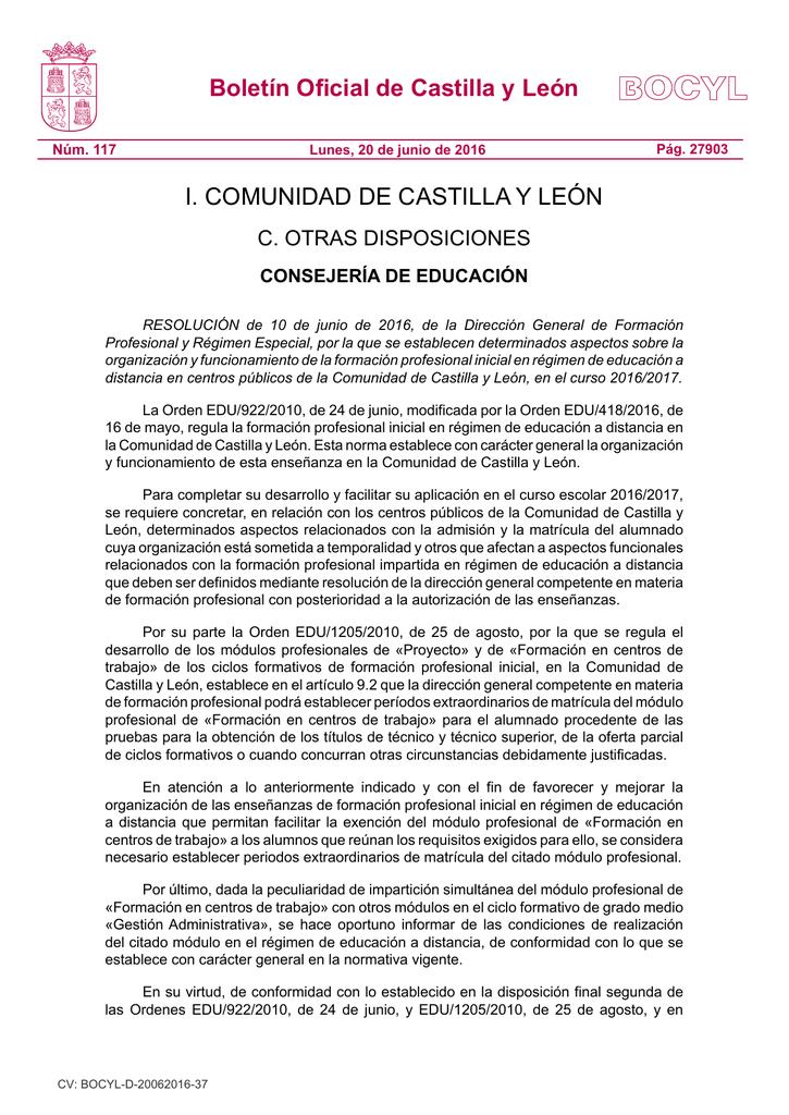 Resolución De 10 De Junio De 2016