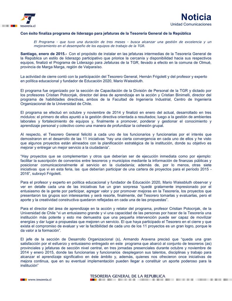 Noticia Tesorería General De La República