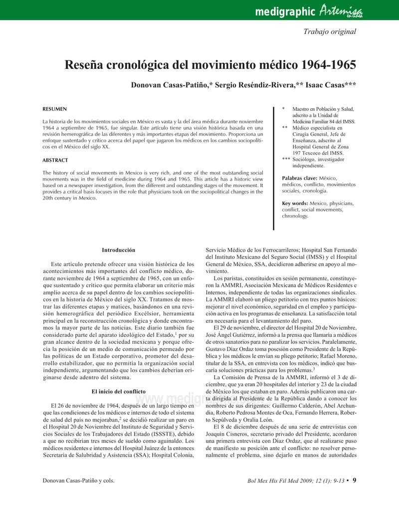 Reseña cronológica del movimiento médico 1964-1965
