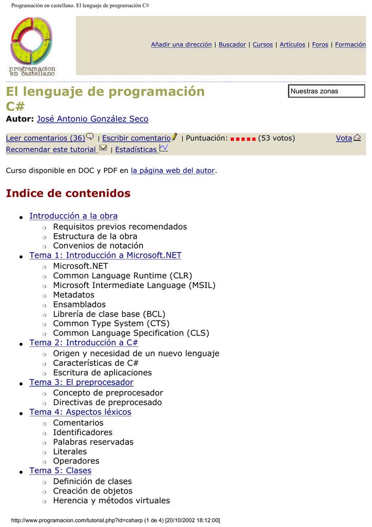 Programación en castellano. El lenguaje de programación C