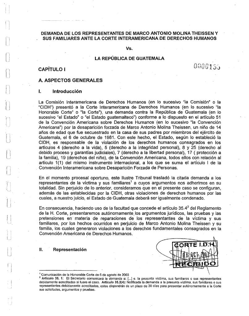 Escrito de solicitudes, argumentos y pruebas presentado por los