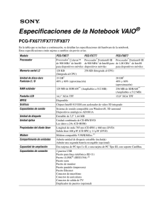 Especificaciones de la Notebook VAIO