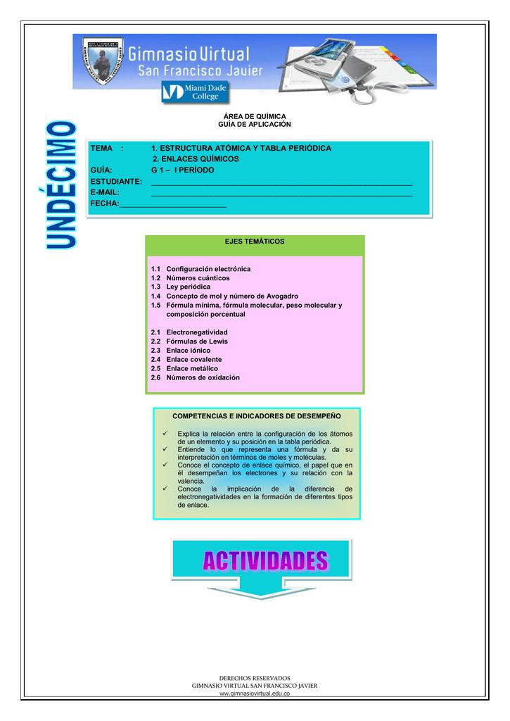1 Estructura Atómica Y Tabla Periódica 2 Enlaces Químicos