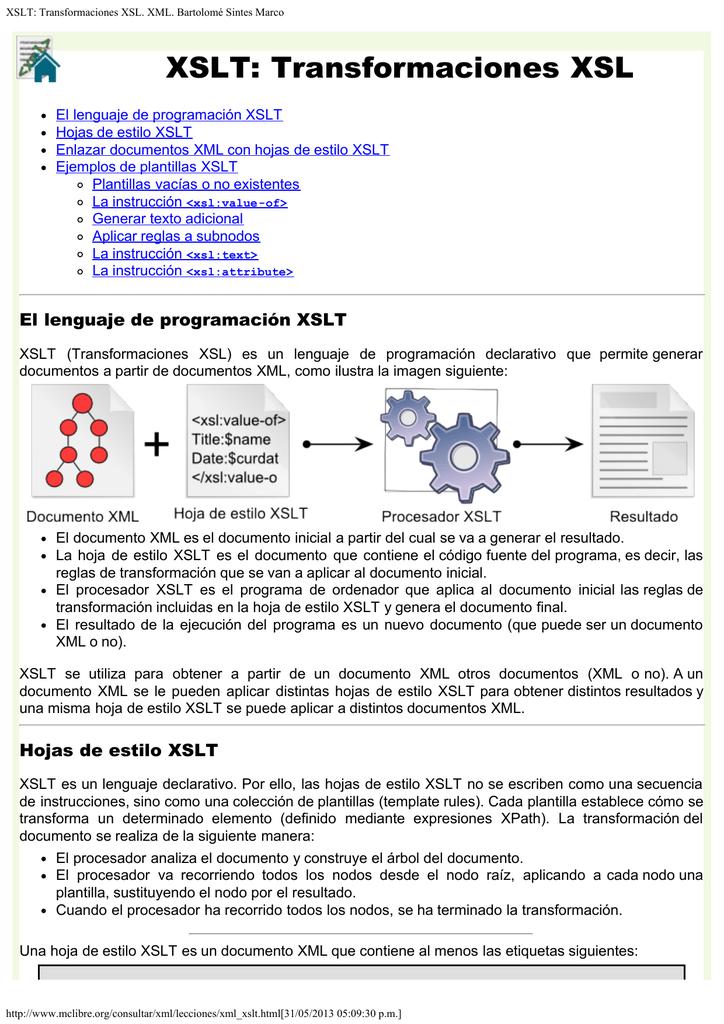 XSLT: Transformaciones XSL. XML. Bartolomé Sintes Marco
