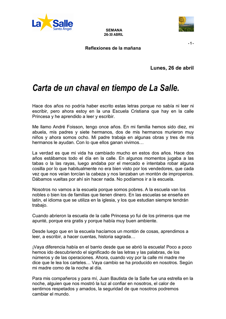 31 Reflexiones 26 30 Abril La Salle
