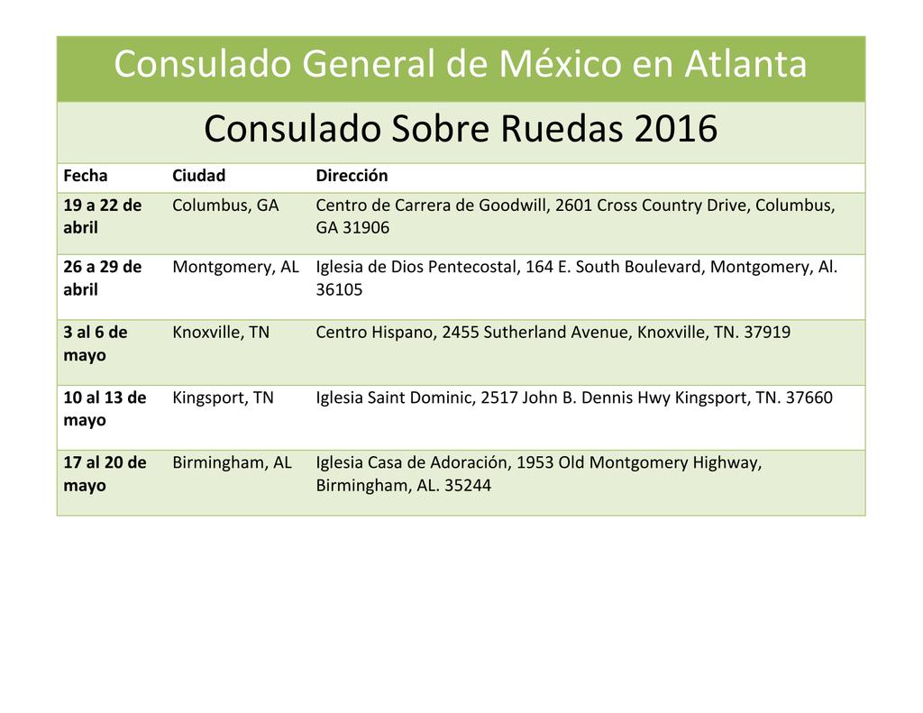 Consulado General de México en Atlanta Consulado Sobre Ruedas