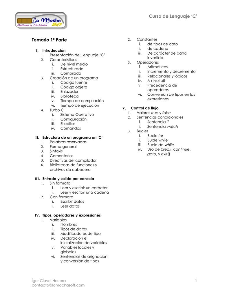 Notas Curso Lenguaje C