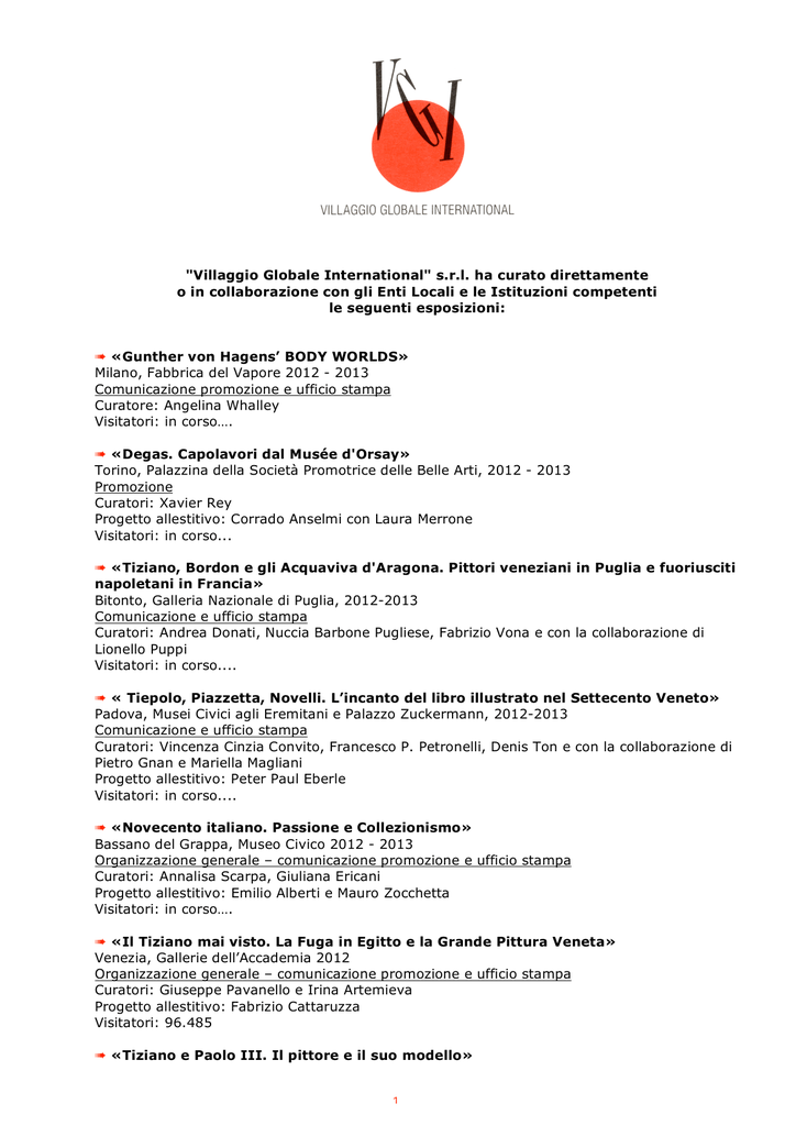 MOSTRE (PDF file - 527 Kb) - Villaggio Globale International e1ef7f50eadc
