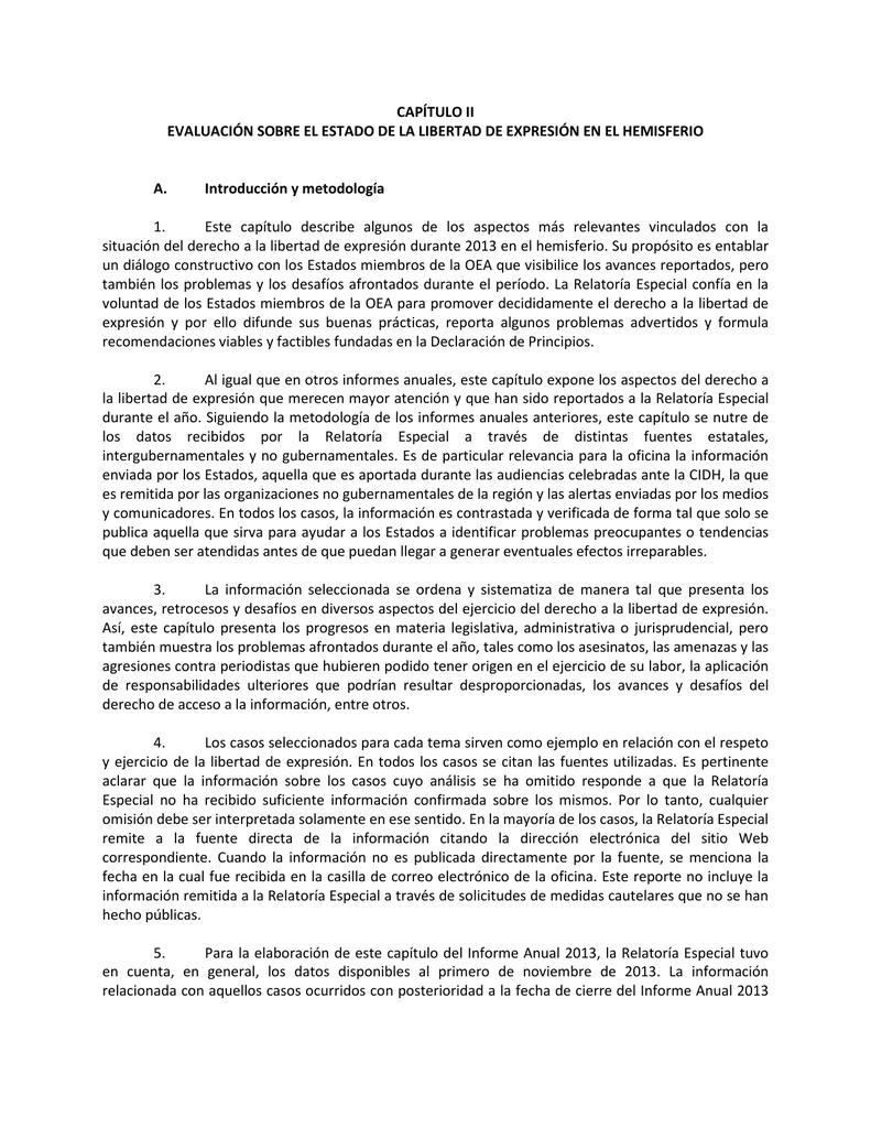 CAPÍTULO II EVALUACIÓN SOBRE EL ESTADO DE LA LIBERTAD