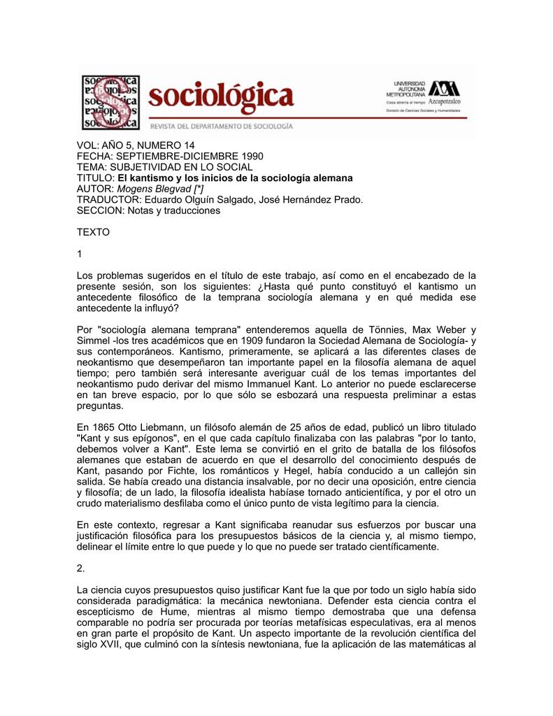 El kantismo y los inicios de la sociología alemana