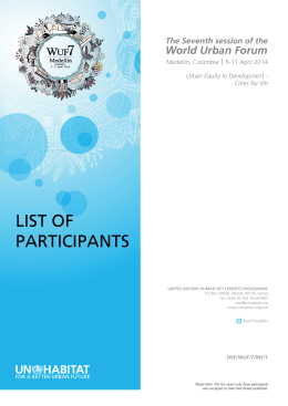 list of participants - World Urban Forum - UN