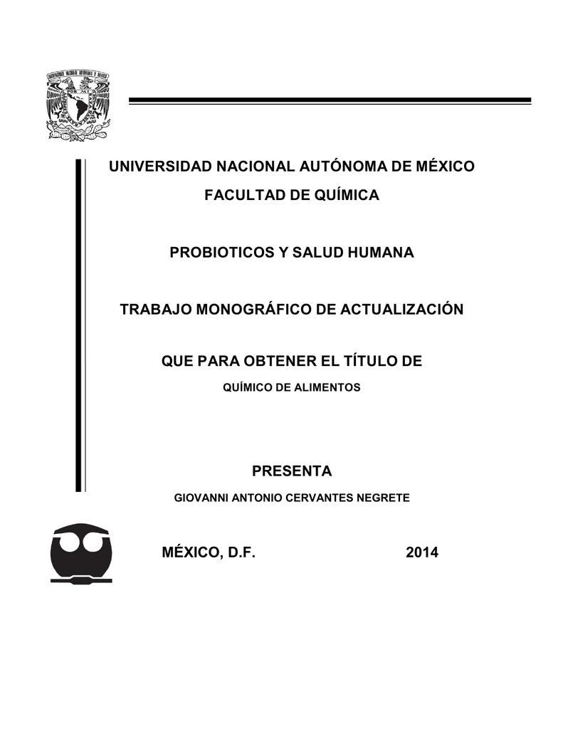 tesis: probioticos y salud humana trabajo monográfico de