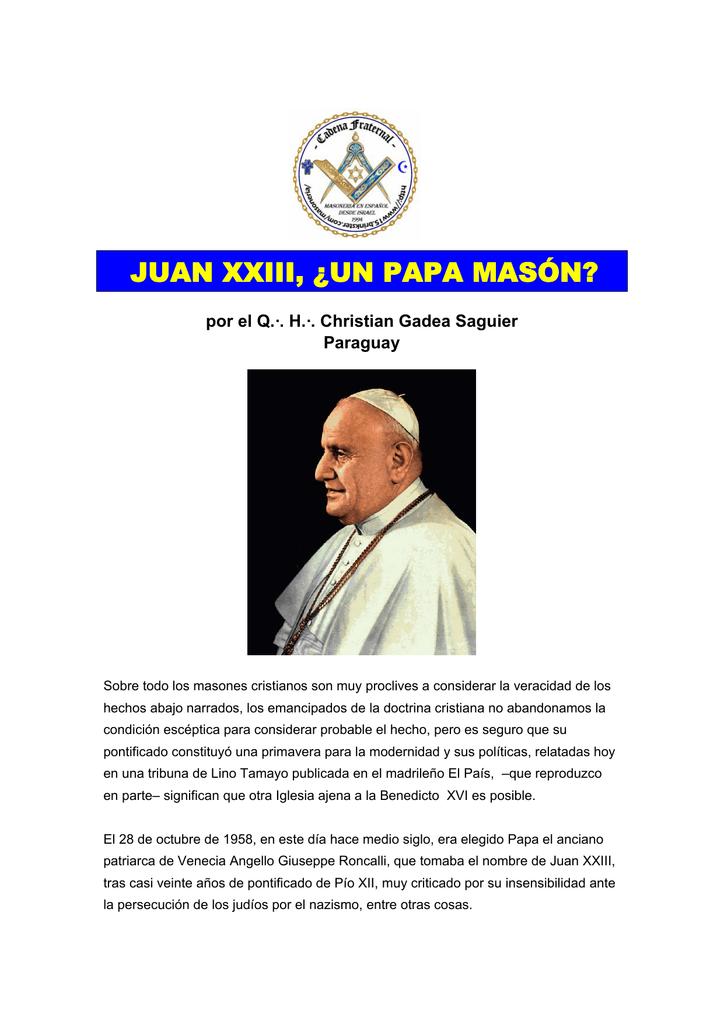 juan xxiii, ¿un papa masón?