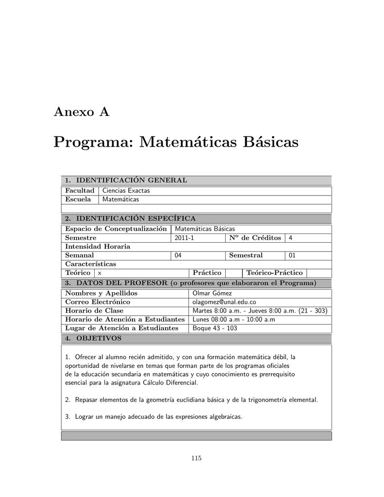 Programa Matemáticas Básicas Universidad Nacional De Colombia