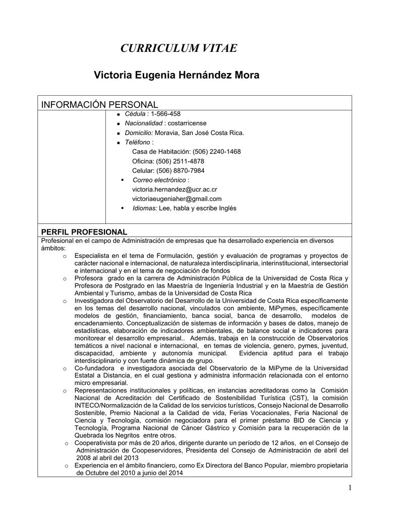 Curriculum Vitae Banco Central De Costa Rica