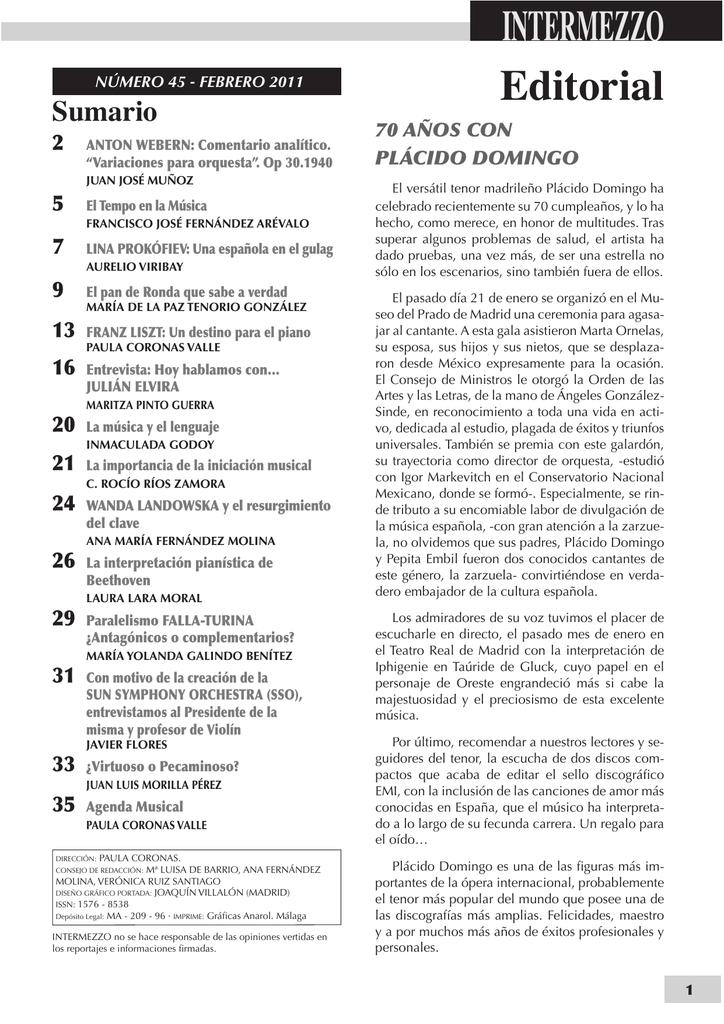 Número 45 - Febrero 2011. - Conservatorio Manuel Carra
