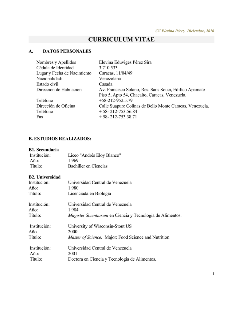 CURRICULUM VITAE - Facultad de Ciencias-UCV