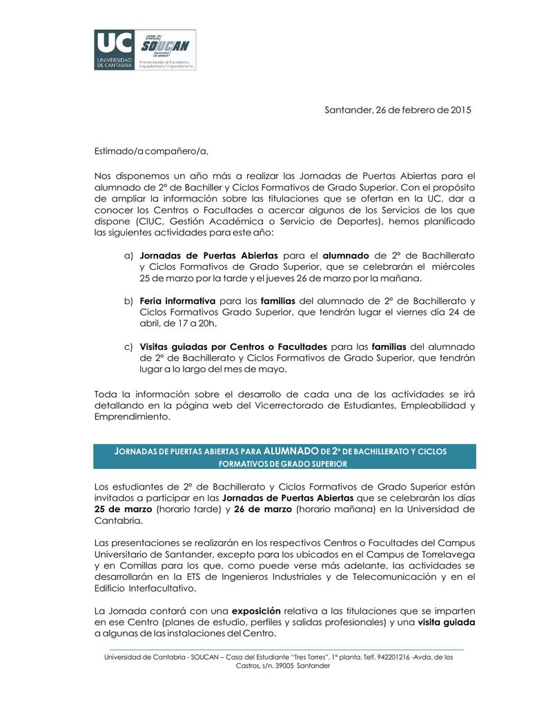 Santander 26 De Febrero De 2015 Estimado A Compañero A Nos
