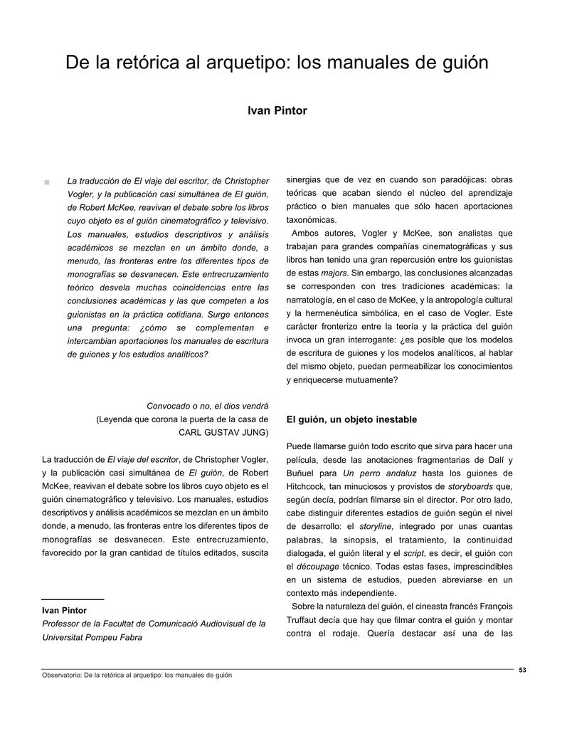 De la retórica al arquetipo: los manuales de guión