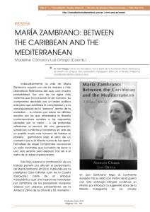 MARÍA ZAMBRANO: BE THE CARIBBEAN AND T