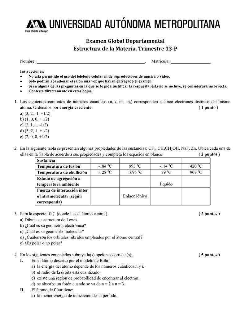 Examen Global Departamental Estructura de la Materia. Trimestre