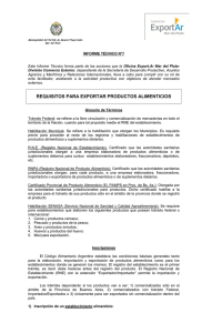 Requisitos para exportar productos alimenticios.