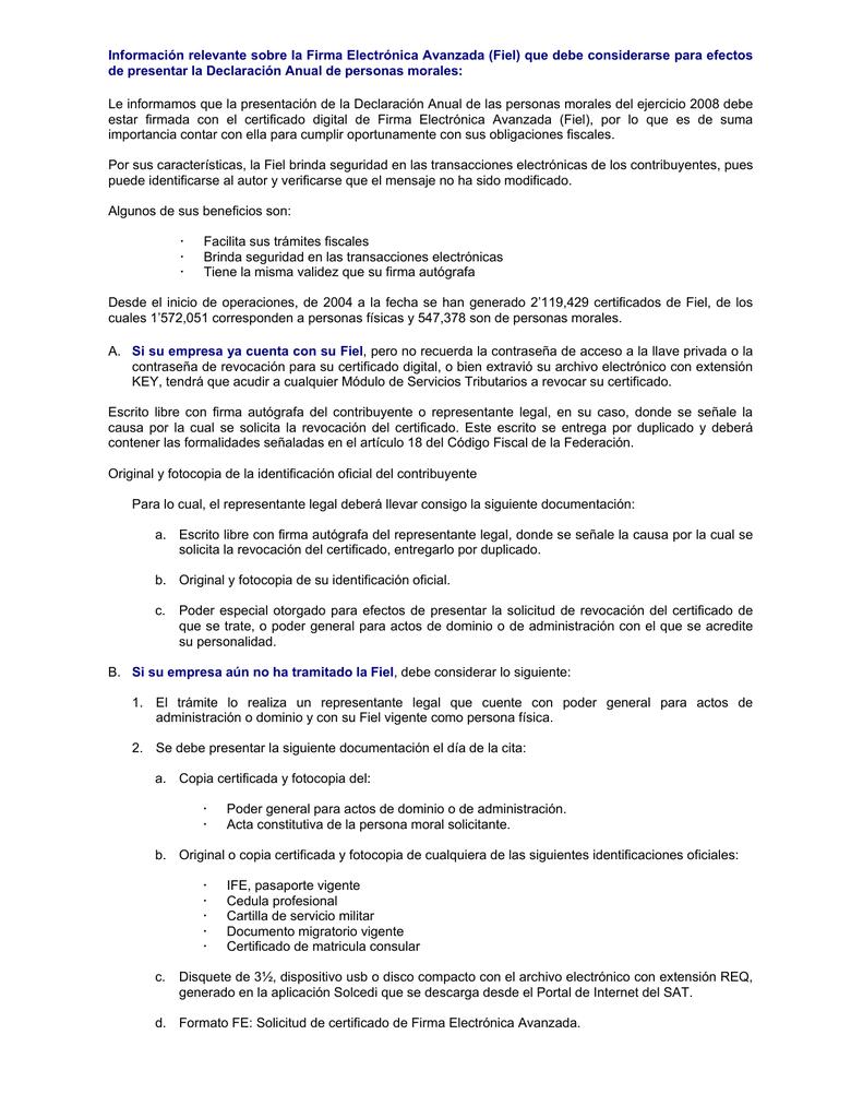 Información Relevante Sobre La Firma Electrónica Avanzada Fiel