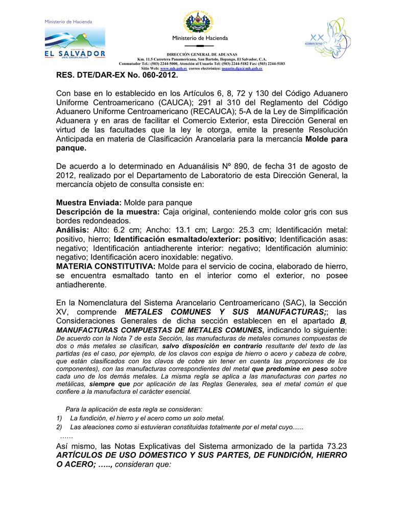 RES  DTE/DAR-EX No  060-2012  Con base en lo establecido en