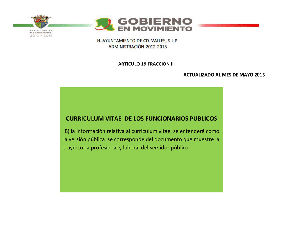 CURRICULUM VITAE DE LOS FUNCIONARIOS