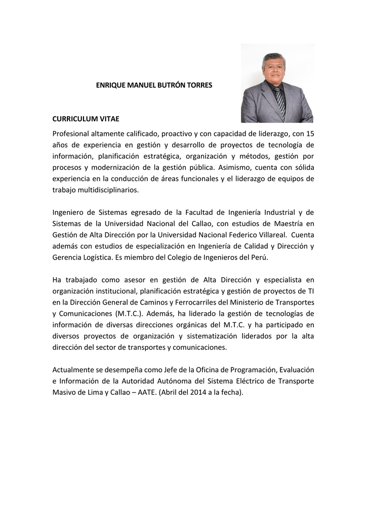 Enrique Manuel Butron Torres Curriculum