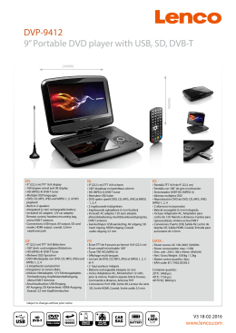 "DVP-9412 9"" Portable DVD player with USB, SD, DVB-T"