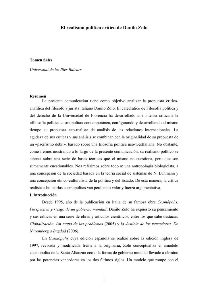 El Realismo Político Crítico De Danilo Zolo