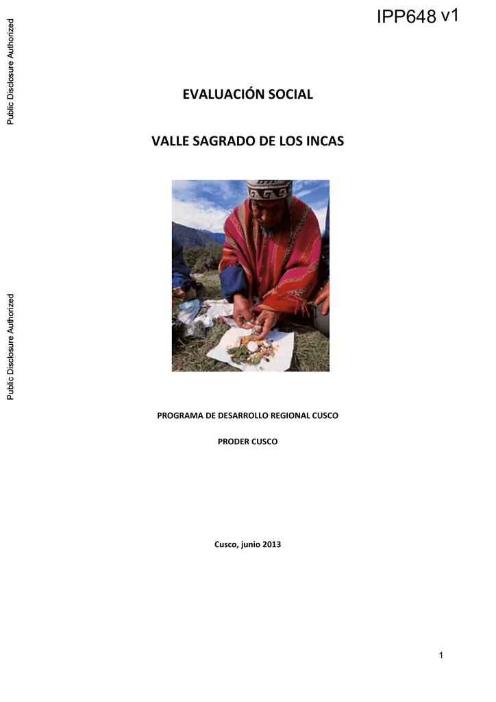 Evaluación Social Valle Sagrado De Los Incas