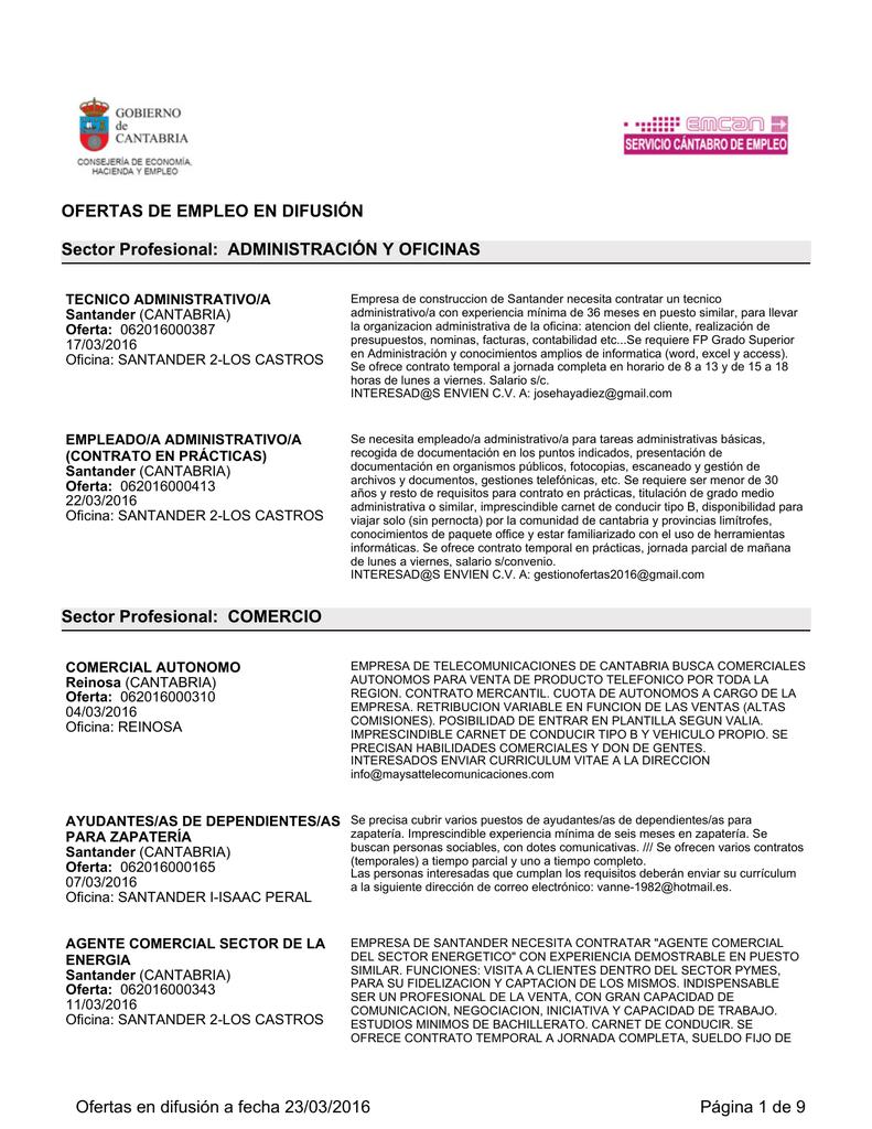 OFERTAS DE EMPLEO EN DIFUSIÓN Sector Profesional