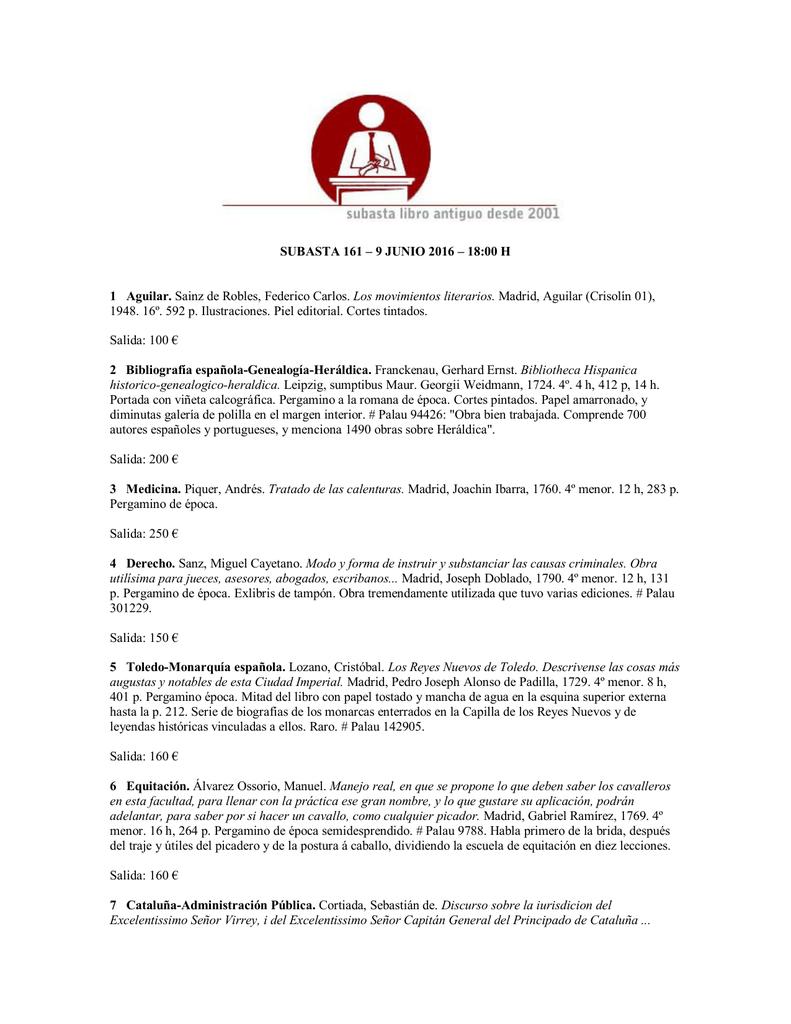 SUBASTA 161 – 9 JUNIO 2016 – 18:00 H 1 Aguilar