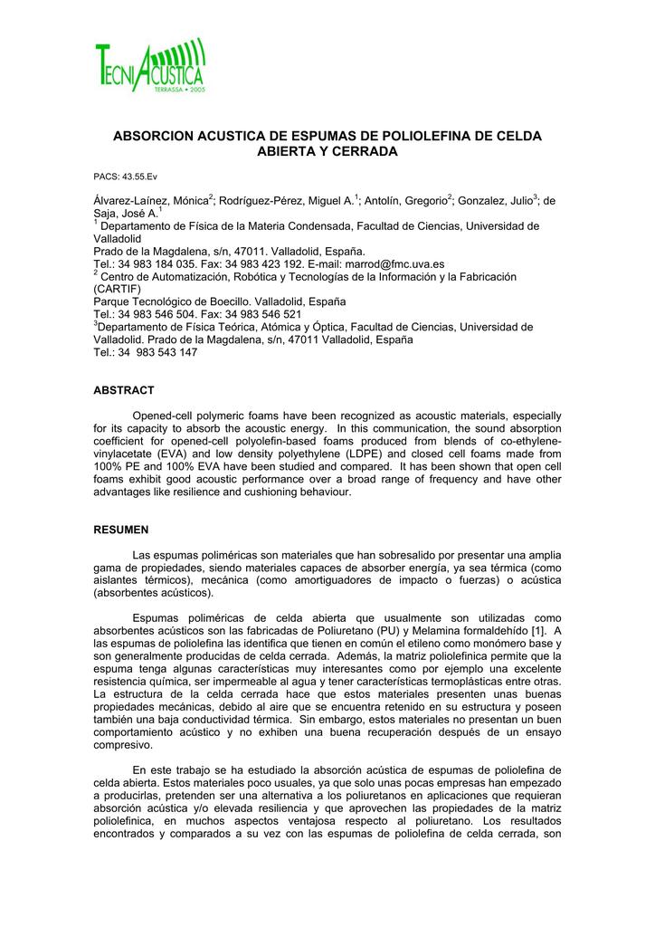 cc41fbab53e absorcion acustica de espumas de poliolefina de celda