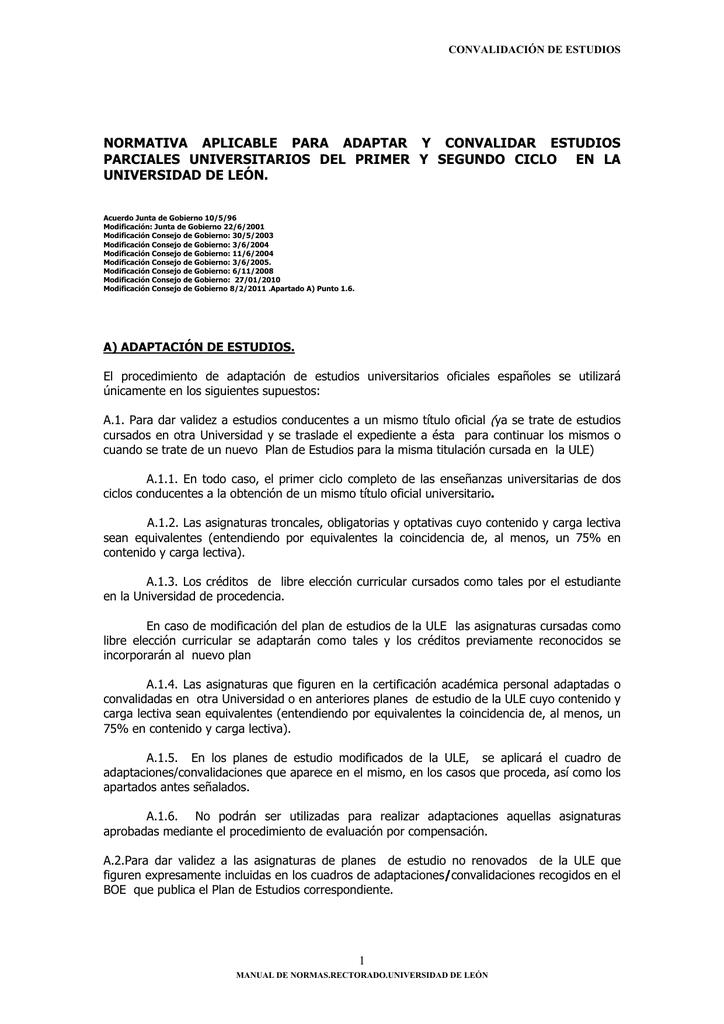Normativa Aplicable Para Adaptar Y Convalidar Estudios Parciales