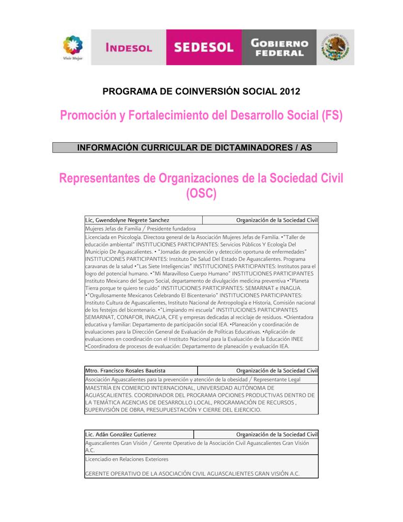 Promoción y Fortalecimiento del Desarrollo Social (FS)