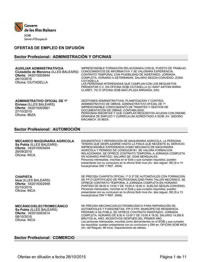 Ofertas difundidas por el Servicio Público de Empleo de BALEARES