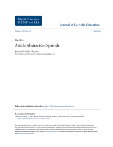 Article Abstracts in Spanish - Digital Commons at Loyola Marymount