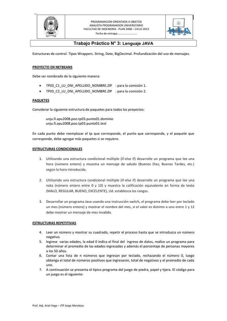 Trabajo Práctico N 3 Lenguaje Java