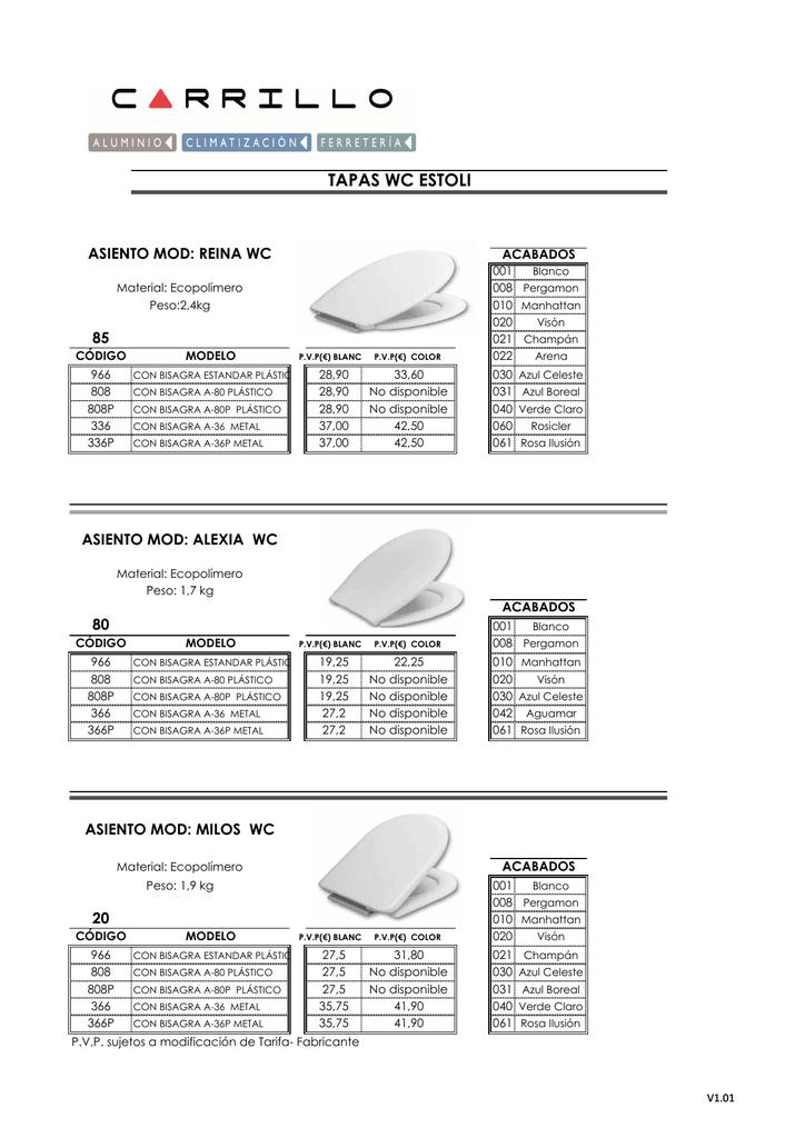 Color Blanco Bisagra A-80 Estoli Asiento y Tapa Modelo Alexia