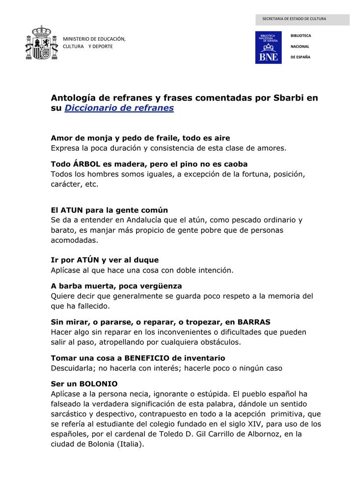 Antología De Refranes Y Frases Comentadas Por Sbarbi En Su